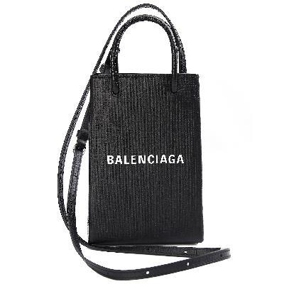 Balenciaga Black Shopping Phone Holder Bag