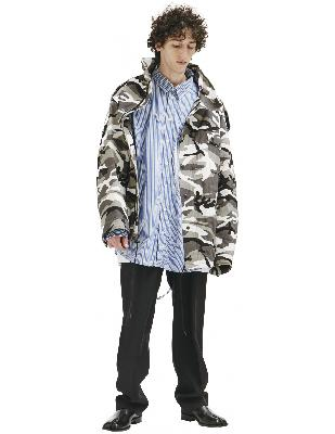 Balenciaga Off-shoulder Camouflage-print Military Parka