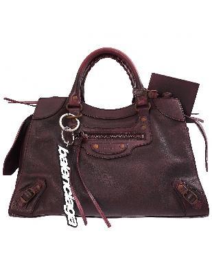 Balenciaga Neo Classic Medium Top Handle Bag in Burgundy
