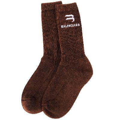 Balenciaga Brown Logo Socks