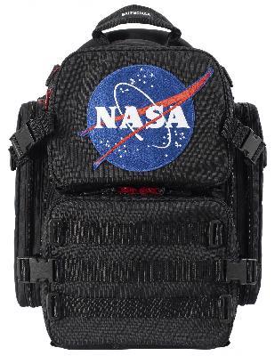 Balenciaga Black Space Backpack in embroidered NASA