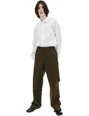 Maison Margiela Dark Green Wool & Cotton Trousers
