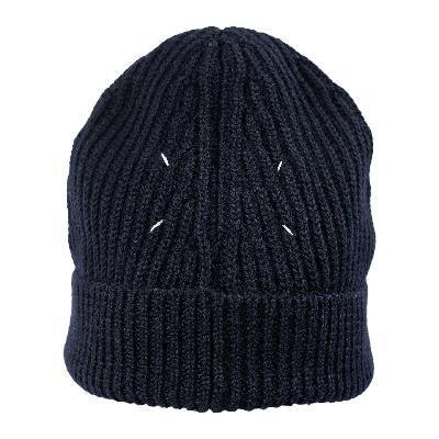 Maison Margiela Navy Blue Wool Beanie