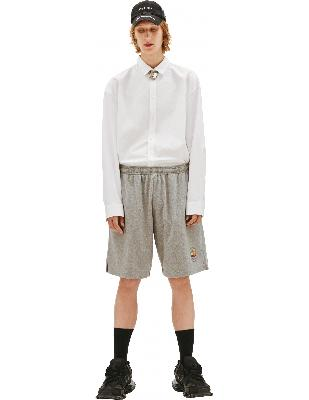 Vetements Grey Cotton Short With Patch