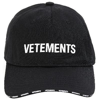 Vetements Black Logo Cap